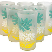 One Kings Lane - Shades of Spring - Frosted Daisy Glasses, S/6