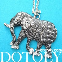 Pretty Elephant Animal Charm Necklace in Dark Silver with Rhinestones