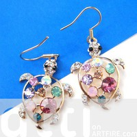 Cute Turtle Tortoise Sea Animal Colorful Rhinestones Dangle Earrings