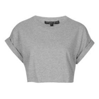 Petite Roll Back Crop Tee - Petite  - Clothing