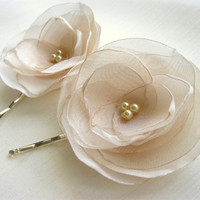 Ivory Organza Flower Bobby Pin Set 2