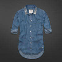 Hallie Embellished Collar Denim Shirt