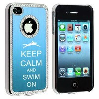 Amazon.com: Apple iPhone 4 4S 4G Light Blue S534 Rhinestone Crystal Bling Aluminum Plated Hard Case Cover Keep Calm and Swim On: Cell Phones & Accessories