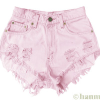 "ALL SIZES ""BLOSSOM"" Vintage Levi high-waisted denim shorts pastel baby pink"