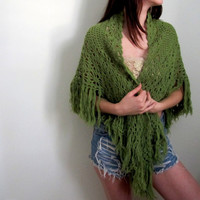 Vintage Green Shawl Knit Crochet Woven Fringe Bohemian Gypsy See Through