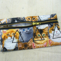 Triangle Cat Pencil Case/Makeup Pouch by Blim on Etsy