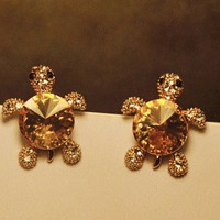 Cutie Turtle Rhinestone Fashion Earrings from LilyFair Jewelry