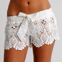 Crochet Short - White - Letarte - Swimwear