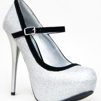 Qupid NEUTRAL-414 Platform High Heel Stiletto Mesh Glitter Mary Jane Party Pump:Amazon:Shoes