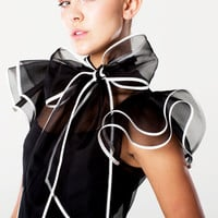 Silk Natalia Bow Blouse Black