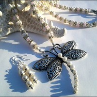 White Pearl Chenille Stitch Dragonfly Necklace and Earring Set
