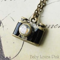 Mini Camera Locket Necklace - Antique Bronze Camera