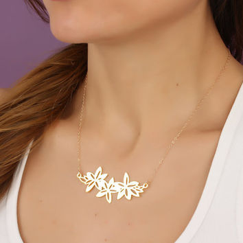 """Flower statement necklace, lilly necklace, gold statement necklace, metal jewelry, bridesmaid necklace, flower necklace, """"Langia"""""""
