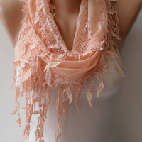 New - Mother&#x27;s Day Gift - Peach Scarf - Gift - Lace Scarf  with Trim Edge