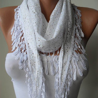 Gift - Cotton - Perforated Fabric Scarf - White Scarf with White Trim Edge