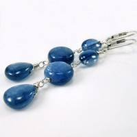 Sapphire Blue Kyanite Pears Oval Coins with Sterling Silver Earrings