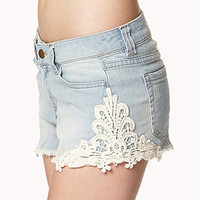 Crochet & Denim Cutoffs | FOREVER 21 - 2000037959