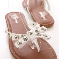 White Studded Bow Tie Sandals