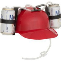 Beer &amp; Soda Guzzler Helmet - Red Drinking Hat by EZ Drinker