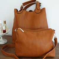 Chic Sensibility Tote, Tan (with bonus sling bag) - Temporarily Sold Out