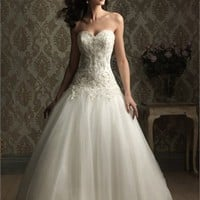 Sweetheart Neckline Embroidery Net With Stain Ball Gown Wedding Dress WD1605