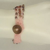 Crochet Bracelet Three Strands Pink with  Iridiscent Cooper Beads