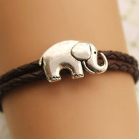 elephant bracelet,retro silver lovely elephant pendant bracelet,brown true leather bracelet---B290