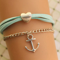 LOVE bracelet,retro silver anchor and love heart bead bracelet,green rope bracelet---B296