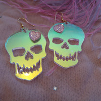 Radiant Acrylic SKULL Earrings by imyourpresent on Etsy