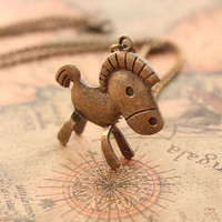 horse necklace,retro bronze 3D cute horse,alloy necklace---N101