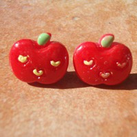 Kawaii Red Apple Face Studs Surgical Steel Gift Packaged