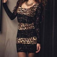 Black Lace-trim Slim Package Hip Thin Dress