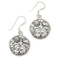 Celtic Tree of Life Sun Moon Sterling Silver Earrings