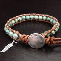 Turquoise Leather Wrap Bracelet with sterling by DESIGNbyANCE