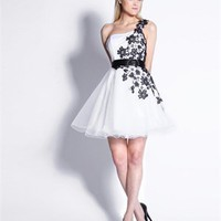 One Shoulder White &amp; Black Floral Embroidered Tulle Short Prom Dress PD1433
