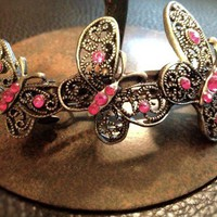 Vintage Pink Jeweled Butterfly Hairclip