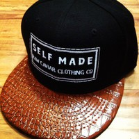 Raw Caviar Black with Brown Embossed Print Croc Bill Self Made Logo Patch Stitch