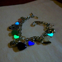 Mermaids Magic Charm Bracelet- &quot;I Love You With All My Hearts&quot; Design with Glow in the Dark Hearts and Genuine Gemstone Charms