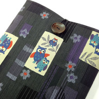 "Cute Owls 11"" Macbook Sleeves, Handmade In Canada, Great Gift Ideas, Japanese Kimono Cotton Fabric Happy Owls Black"