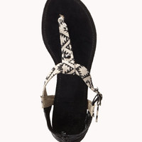FOREVER 21 Southwestern Thong Sandals Cream/Black 8