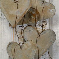 Large metal heart garland distressed rusty romantic rustic wedding shabby chic home decor Anita Spero