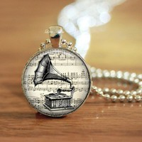 Retro gramophone sketch drawings glass music necklace keychain
