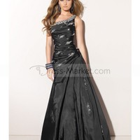 2012 Style Trumpet / Mermaid One Shoulder Beading Sleeveless Floor-length Taffeta Prom Dresses / Evening Dresses (SZ0242048 )
