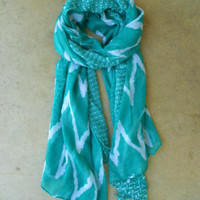 Wavy Lines Scarf in Teal [3940] - $14.00 : Vintage Inspired Clothing & Affordable Fall Frocks, deloom | Modern. Vintage. Crafted.