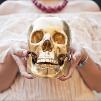 $125.00 Life Size Golden Skull by PrimaryPetals on Etsy