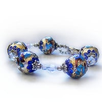 &#x27;&#x27;Ice Queen&#x27;&#x27; bracelet, beautiful ornate silver blue cloisonne