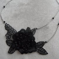 Lace necklace, wedding necklace, bridal necklace, bridesmaid necklace, Black Lace Necklace, unigue, wedding accessory