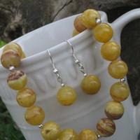Vibrant Yellow Gemstone Necklace and Earring Set | ButtermilkSkyDesigns - Jewelry on ArtFire