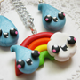 Rainbow Jewelry Set Kawaii Rainbow Necklace Set Earrings And Necklace for Tweens, Teens and Adults