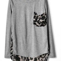 Gray or Black Leopard Print Chiffon T-shirt